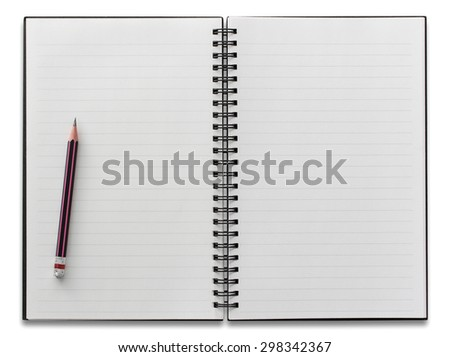 open spiral notebook and pencil isolated on white