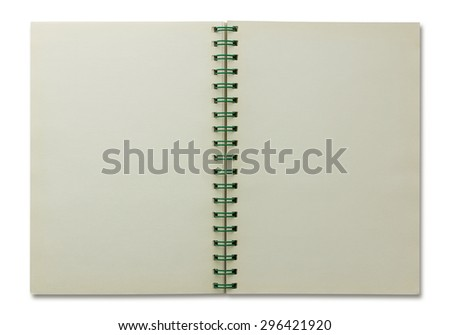 open spiral notebook isolated on white - stock photo