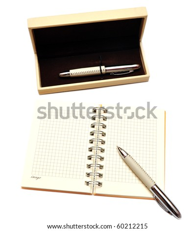 open spiral notebook with case related to pen