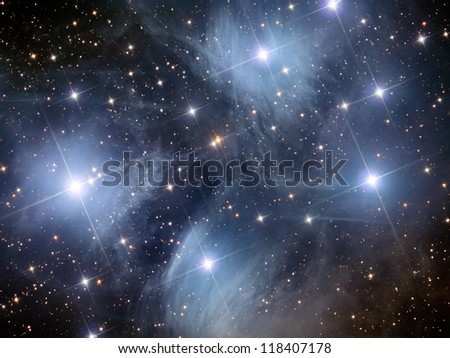 open star cluster in the constellation of Taurus - stock photo