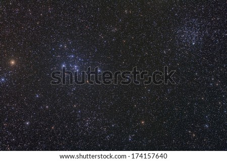 Open Star Clusters M46 and M47 - stock photo