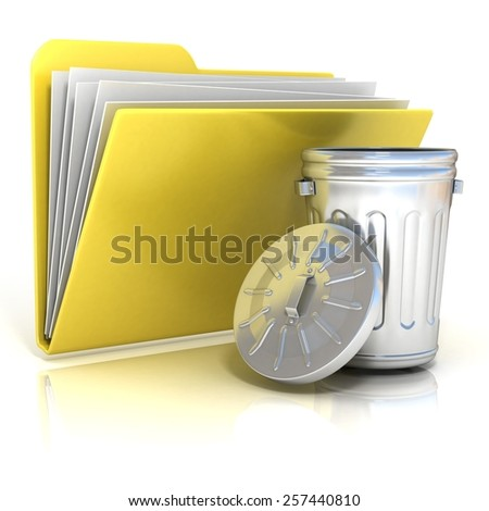 Open steel trash can folder icon, 3D render illustration, isolated on white background - stock photo