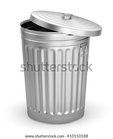 Open steel trash can isolated on white background. 3D illustration