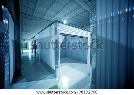 Open Storage Unit. Climate Controlled Modern Storage Warehouse - Storage Facility Interior. Unit for Rent-Lease. Business Photo Collection - stock photo