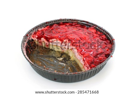 Open strawberry cake with icing on a white background - stock photo