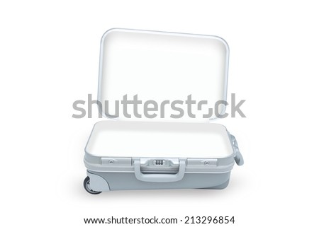 open suitcase isolated on white background with clipping path - stock photo