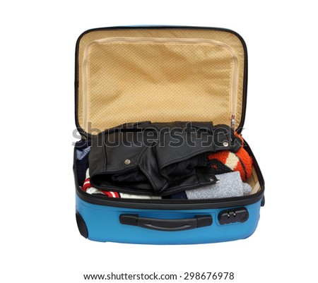 Open Suitcase Packed With Warm Clothing on White Background
