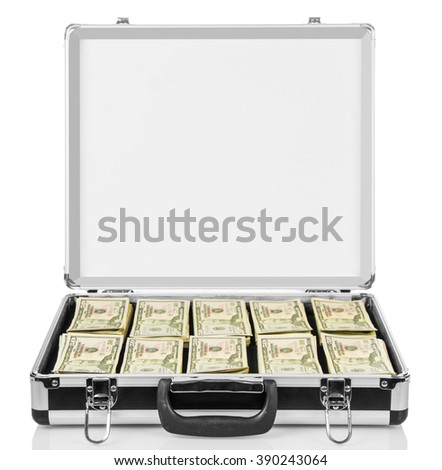 Open suitcase with dollars isolated on white background. - stock photo