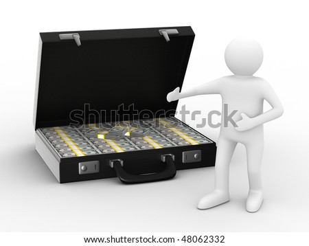 Open suitcase with dollars on white background. Isolated 3D image - stock photo
