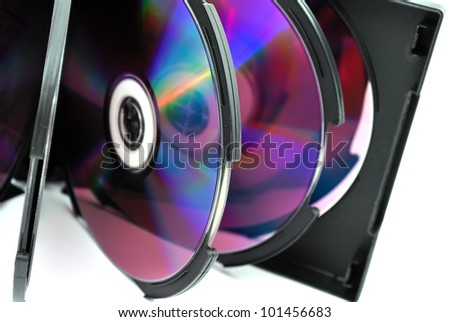 open the album with dvd discs on a white background