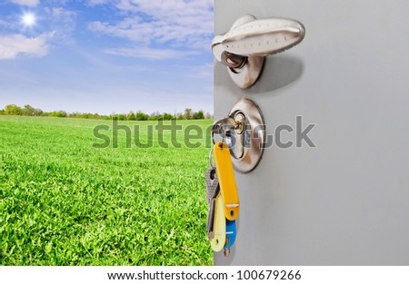 Open the door handle and keys
