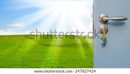 Open the door handle and keys - stock photo
