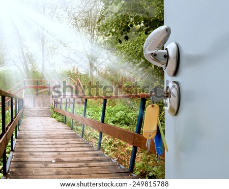 Open the door handle and keys with views of the ladder - stock photo
