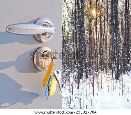 open the door of the metal with a view of the winter forest - stock photo