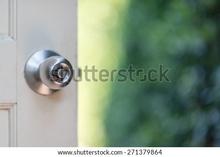 Open the door to the bokeh garden - stock photo