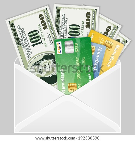 Open the Envelope with Four Hundred Dollar Bills and Credit Cards - stock photo