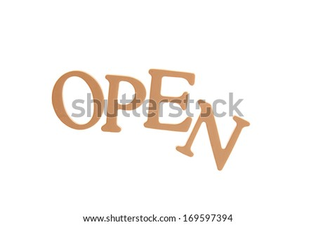 Open  - Three Dimensional Letter isolated on white background.