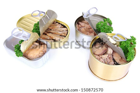 Open tin can, isolated on white - stock photo