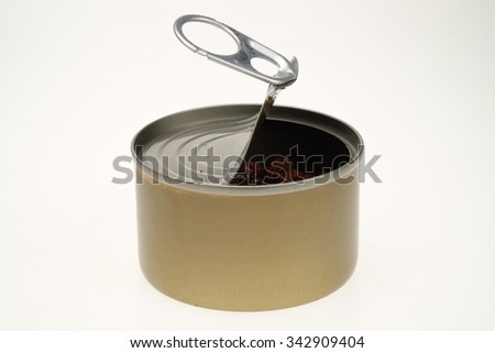 Open tin can isolated on white - stock photo