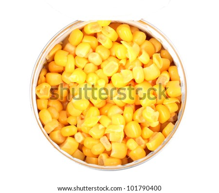 Open tin can of corn close-up isolated on white - stock photo