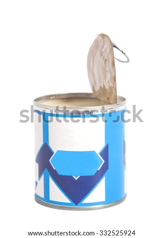 Open  tin can with Condensed milk isolated on white - stock photo