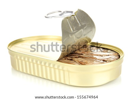 Open tin can with sardines, isolated on white