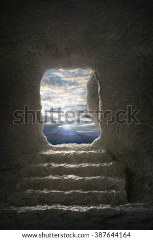 Open tomb of Jesus during early morning light - stock photo