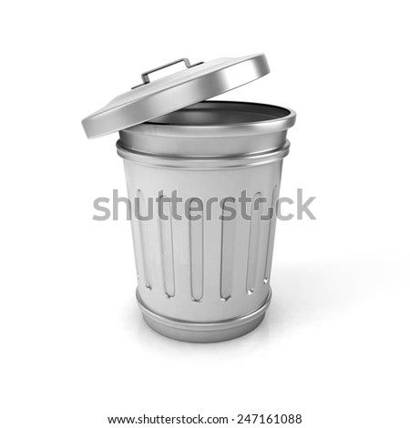 open trash can. 3d illustration - stock photo