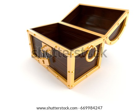 Open treasure chest isolated on white background. 3d illustration