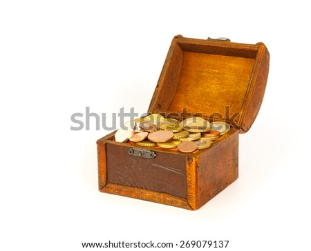 Open treasure chest with euro coins  isolated on white background
