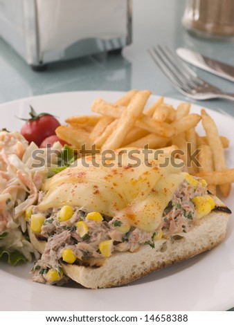 Open Tuna and Sweet corn Melt with Coleslaw and Fries - stock photo