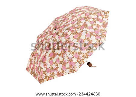 Open  umbrella with rose,beige and white flowers elements isolated on white with clipping path - stock photo