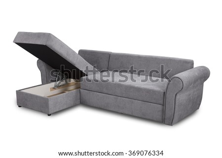 Open upholstery sofa corner set isolated on white background with clipping path