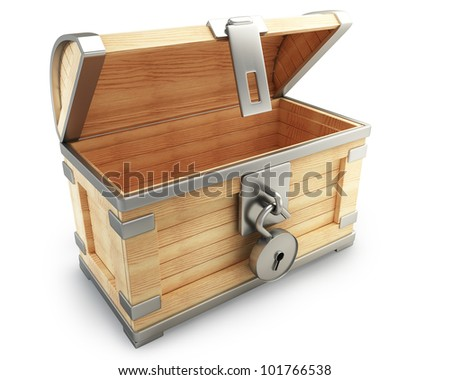 open vintage chest with lock isolated on white background high resolution 3d render - stock photo