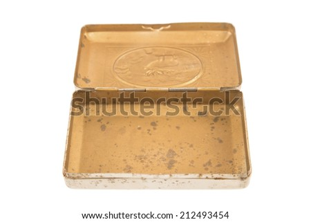 Open vintage metal box isolated on white - stock photo