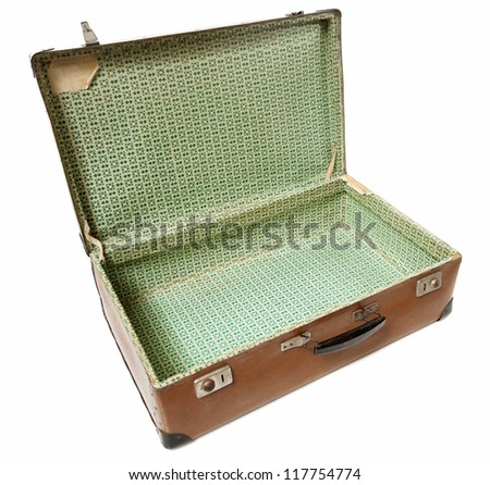 open vintage old leather suitcase, isolated white - stock photo