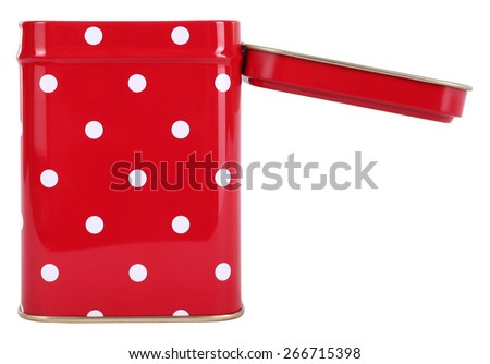 Open vintage tin box red with white dots - stock photo