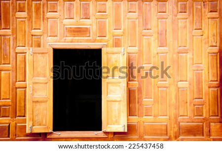 open vintge wood windows Thai Style for antique background - stock photo