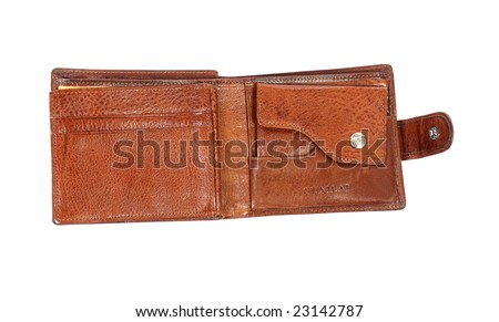 Open wallet on a white background.