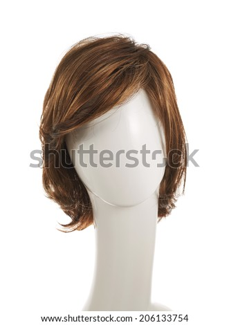 Open wave hair wig over the white plastic mannequin head isolated over the white background - stock photo