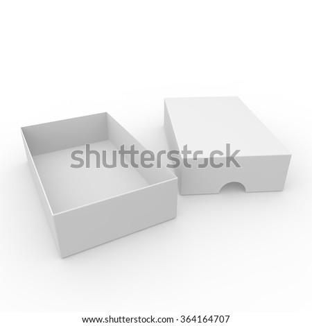 Open white blank carton. With a hole on the lid to open. Isolated white background