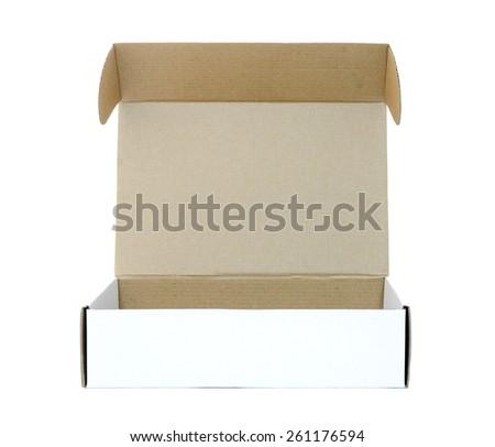 Open white box on white background. - stock photo