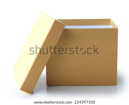 Open White Cardboard Carton Gift Box With Lid. Illustration Isolated On White Background.  This has clipping path. - stock photo