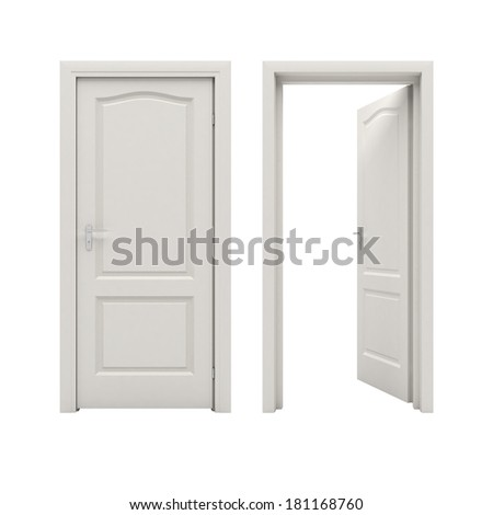Open white door - stock photo