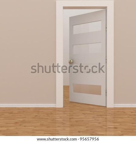 open white door ( empty room ) - stock photo