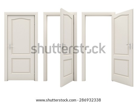 Open white door isolated on a white background - stock photo