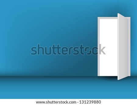Open white door on a green wall  illustration - stock photo
