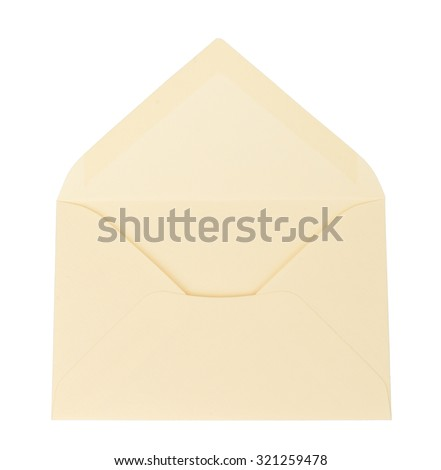 Open white envelope on isolated white background, close up view - stock photo