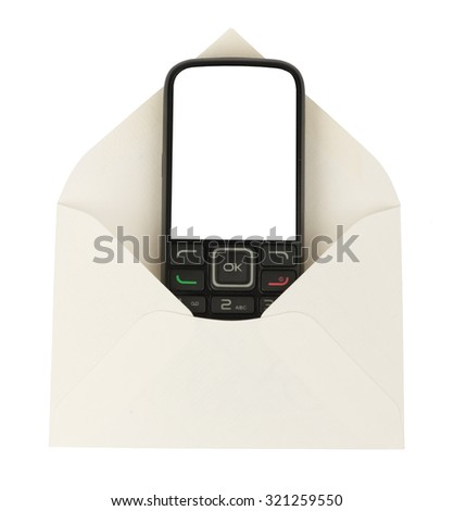 Open white envelope with mobile on isolated white background, close up view