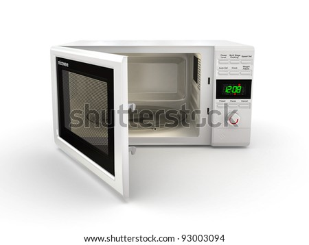 Open white microwave on white background. 3d - stock photo